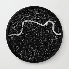 London Black on Gray Street Map Wall Clock