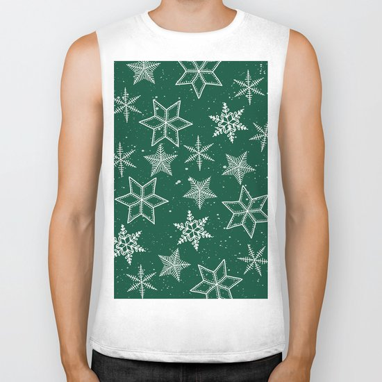 Snowflakes On Green Background Biker Tank