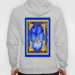 """Blue Ribbon Beauty"" Pansy Art Abstract Design Hoody"