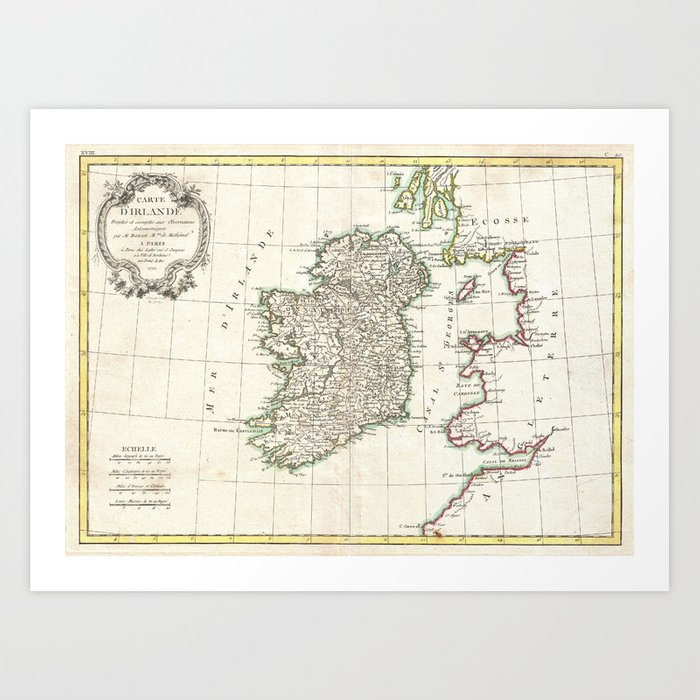 Map Of Ireland Print.Vintage Map Of Ireland 1771 Art Print By Bravuramedia Society6