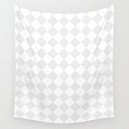 Diamonds - White and Pale Gray Wall Tapestry