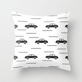 Black automobile road pattern Throw Pillow