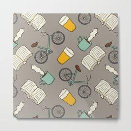 Bicycles, Books, Beer, and Coffee Metal Print