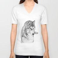 husky V-neck T-shirts featuring Siberian  Husky by stevesart