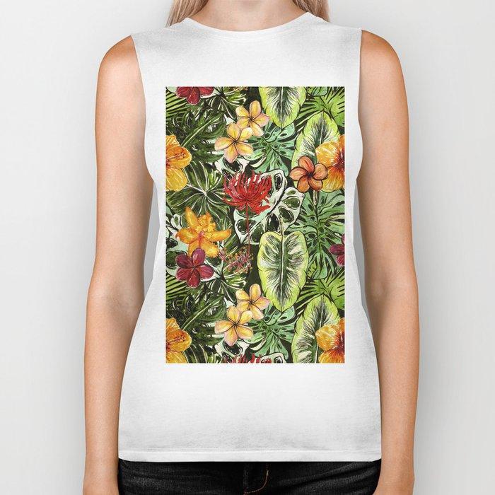 Tropical Vintage Exotic Jungle Flower Flowers - Floral watercolor pattern Biker Tank