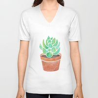 succulent V-neck T-shirts featuring The Succulent by Janelle Adamson
