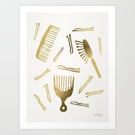 Good Hair Day – Gold Palette Art Print