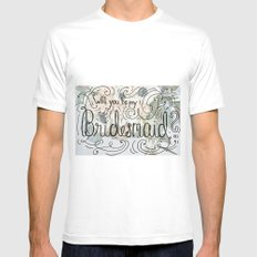 Will you be my bridesmaid? (Bouquet background) Mens Fitted Tee White MEDIUM