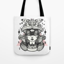 Girl With Death Head Moth Tote Bag