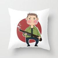 dean winchester Throw Pillows featuring Dean Winchester by RiruD