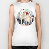 princess mononoke Biker Tanks featuring Princess Mononoke by Tiffany Willis