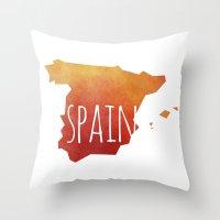 spain Throw Pillows featuring Spain by Stephanie Wittenburg