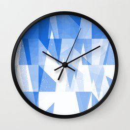 Abstract Blue Geometric Mountains Design Wall Clock