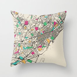 Colorful City Maps: Barcelona, Spain Throw Pillow