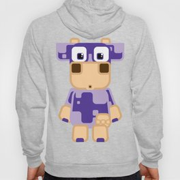 Super cute cartoon cow in purple - a moo-st have design for cow enthusiasts! Hoody