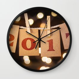 Happy New Year 2017 Christmas Wallpaper rope clothespins New Year Wall Clock