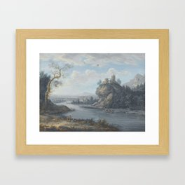 A River Landscape With Anglers In The Foreground And Travellers On A Path Beyond by Attributed to Ch Framed Art Print