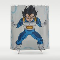 vegeta Shower Curtains featuring Prince Vegeta by bmeow