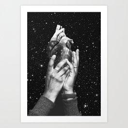 Heart says hold on Art Print