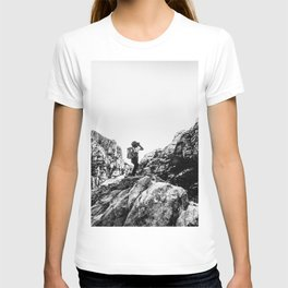 Boys Adventure | Rustic Camping Kid Red Rocks Climbing Explorer Black and White Nursery Photograph T-shirt