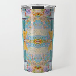 he wore mesh and she, puffy sleeves - a modern collage in blue and orange Travel Mug