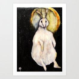 Rabbit with Moon Art Print