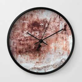 Rust Desaturated Red White Wall Clock