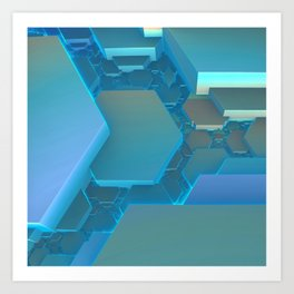 Hexagon Blues Art Print