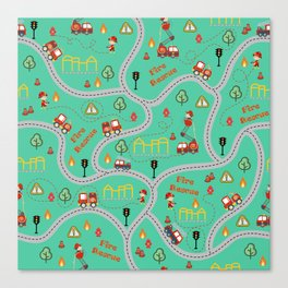 Fireman cute seamless kids pattern mint Canvas Print