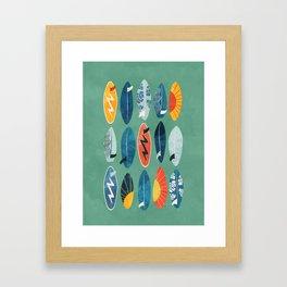 Surfboard green  Framed Art Print