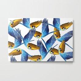 macaw flying pattern white Metal Print