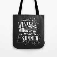 camus Tote Bags featuring Albert Camus - In the Midst of Winter by Amber Serene