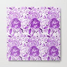 Watercolor roses bouquet - ultra violet Metal Print