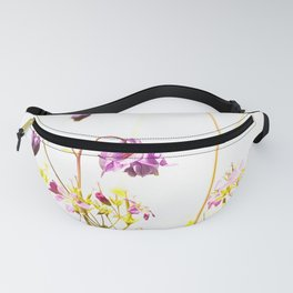 Purple Columbine Flower White Background Fanny Pack