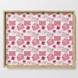 Snail mail love letter pattern in pink Serving Tray
