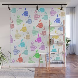 Modern pastel winter holidays coffee hand drawn pattern Wall Mural