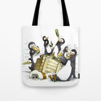 penguins Tote Bags featuring Penguins by Bouletcorp