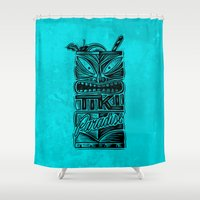 tiki Shower Curtains featuring Tiki Paradise by Fontolia (Katie Blaker)
