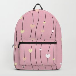 Pink swirls with hearts pattern background Backpack