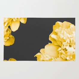 Yellow Flowers On A Dark Background #decor #society #homedecor Rug