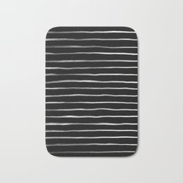White in Black Lines Bath Mat