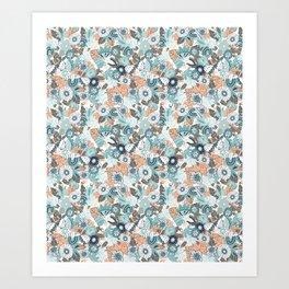 Whimsical Blue and Orange Floral Art Print