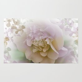 Romantic Camellia / floral design in soft color tones Rug