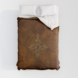 Antique Steampunk Compass Rose & Map Comforters