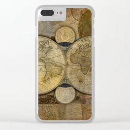 """""""Vintage paper & Maps (burlap texture)"""" Clear iPhone Case"""