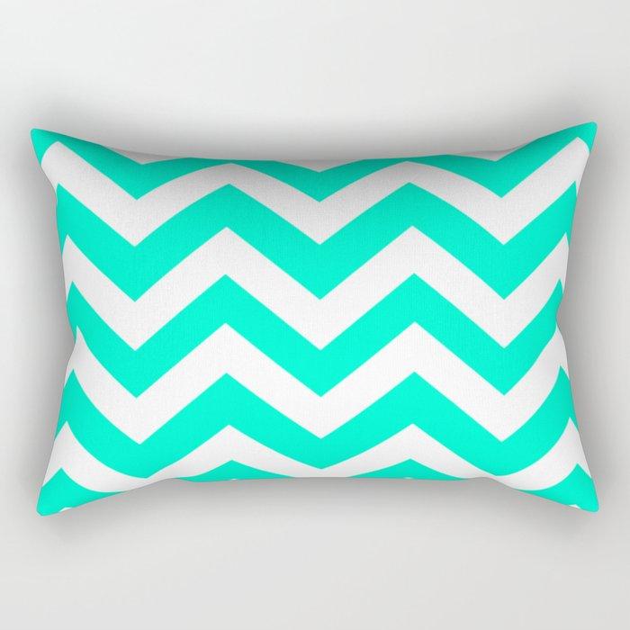 Sea green (Crayola) - heavenly color - Zigzag Chevron Pattern Rectangular Pillow