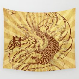 old fashion sun rays vintage japanese tatoo koi fish Wall Tapestry
