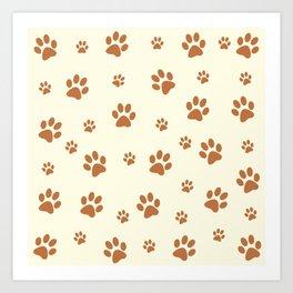 Muddy Puppy Paw Prints Art Print
