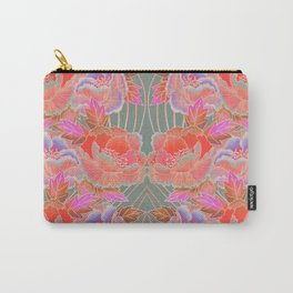 Peonies Pattern with Waves - Red, Pink, Purple, Green Carry-All Pouch