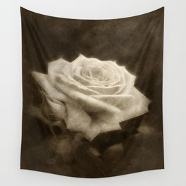Pink Roses in Anzures 3 Antiqued Wall Tapestry